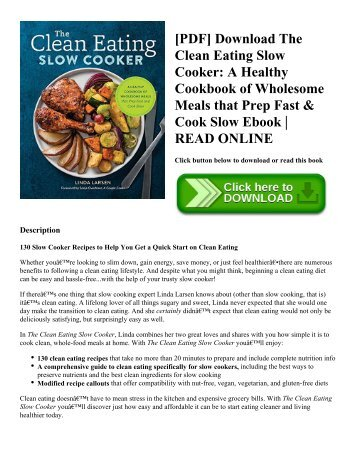Pdf download healthy meal prep time saving plans to prep and pdf download the clean eating slow cooker a healthy cookbook of wholesome meals forumfinder Choice Image