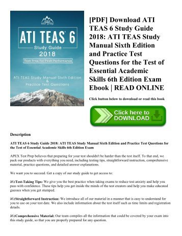 [PDF] Download ATI TEAS 6 Study Guide 2018: ATI TEAS Study Manual Sixth Edition and Practice Test Questions for the Test of Essential Academic Skills 6th Edition Exam Ebook | READ ONLINE