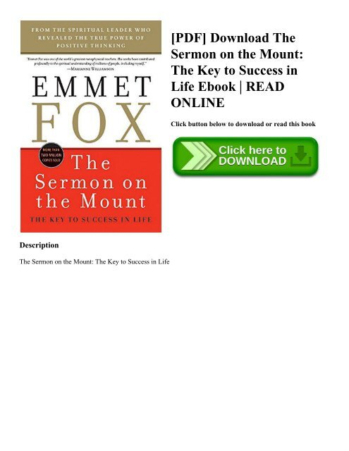 The Sermon on the Mount The Key to Success in Life