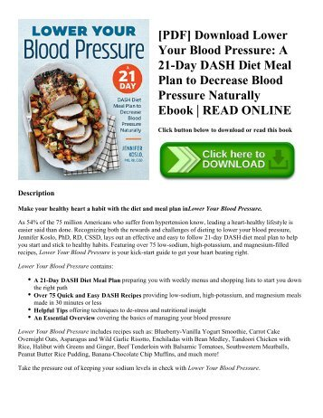 [PDF] Download Lower Your Blood Pressure: A 21-Day DASH Diet Meal Plan to Decrease Blood Pressure Naturally Ebook | READ ONLINE