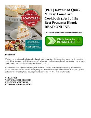 [PDF] Download Quick & Easy Low-Carb Cookbook (Best of the Best Presents) Ebook | READ ONLINE