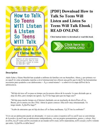 [PDF] Download How to Talk So Teens Will Listen and Listen So Teens Will Talk Ebook | READ ONLINE