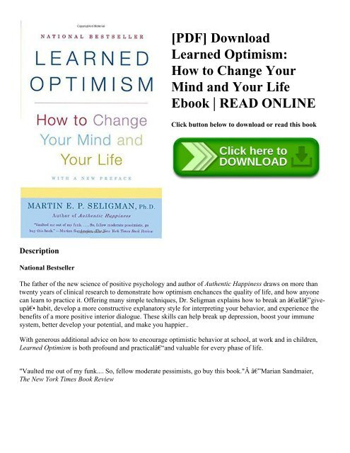 Pdf Download Learned Optimism How To Change Your Mind And Your
