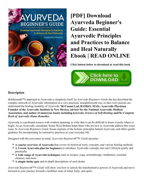 PDF] Download Ayurveda Beginner's Guide: Essential Ayurvedic