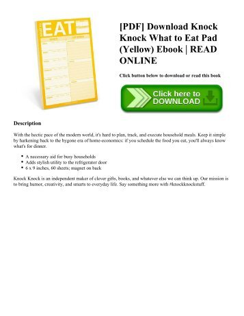 [PDF] Download Knock Knock What to Eat Pad (Yellow) Ebook | READ ONLINE