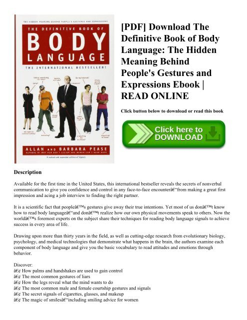 PDF] Download The Definitive Book of Body Language: The Hidden