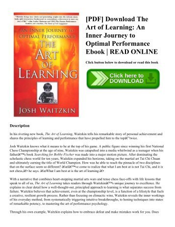 [PDF] Download The Art of Learning: An Inner Journey to Optimal Performance Ebook | READ ONLINE
