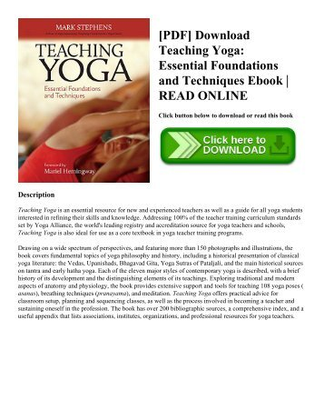 [PDF] Download Teaching Yoga: Essential Foundations and Techniques Ebook | READ ONLINE