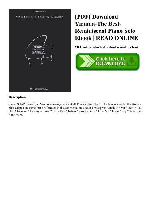 PDF] Download Yiruma-The Best-Reminiscent Piano Solo Ebook