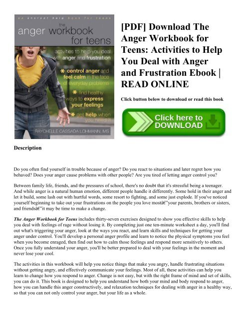 Pdf Download The Anger Workbook For Teens Activities To Help You