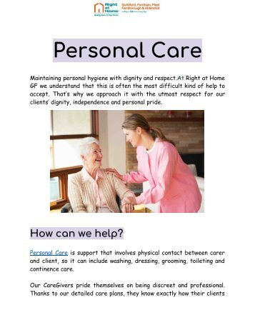 Best Quality Personal Care Services by Professionals | Right At Home UK