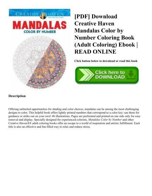 PDF] Download Creative Haven Mandalas Color by Number ...