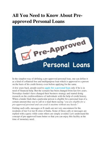 All You Need to Know About Pre-approved Personal Loans