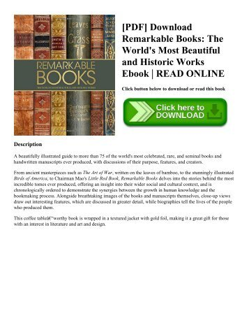 [PDF] Download Remarkable Books: The World's Most Beautiful and Historic Works Ebook | READ ONLINE