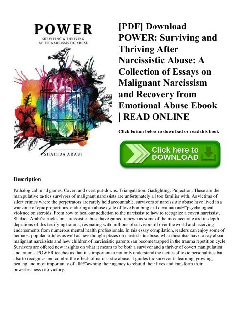 Pdf Download Power Surviving And Thriving After Narcissistic Abuse  Pdf Download Power Surviving And Thriving After Narcissistic Abuse A  Collection Of Essays On Malignant Narcissism And Recovery From Emotional  Abuse  Public Health Essays also English Essay About Environment  Thesis Argumentative Essay