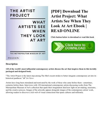 Pdf download the artist project what artists see when they look at pdf download the artist project what artists see when they look at art ebook read online solutioingenieria Images