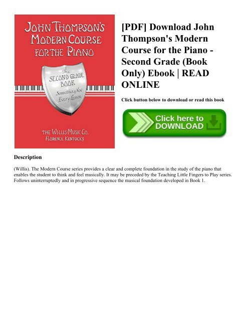 John Thompson Modern Course For The Piano Pdf