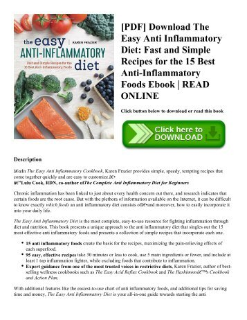 [PDF] Download The Easy Anti Inflammatory Diet: Fast and Simple Recipes for the 15 Best Anti-Inflammatory Foods Ebook | READ ONLINE