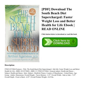 [PDF] Download The South Beach Diet Supercharged: Faster Weight Loss and Better Health for Life Ebook | READ ONLINE