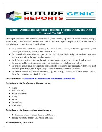 Aerospace Materials Market Segmentation and Analysis by Recent Trends, Development Trends and Growth Rate by Regions To 2022