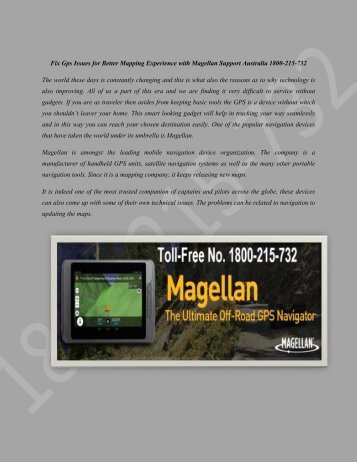 FIX GPS ISSUES FOR BETTER MAPPING EXPERIENCE WITH MAGELLAN SUPPORT AUSTRALIA 1800-215-732