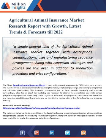 Agricultural Animal Insurance Market 2022 -Global Industry Demand, Trend, Growth Analysis and Forecast Research Report