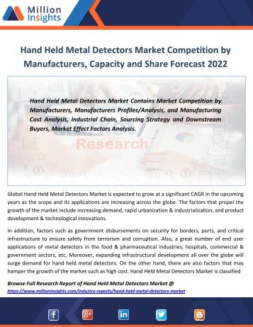 Hand Held Metal Detectors Market Competition by Manufacturers, Capacity and Share Forecast 2022