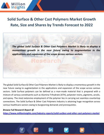 Solid Surface & Other Cast Polymers Market Growth Rate, Size and Shares by Trends Forecast to 2022