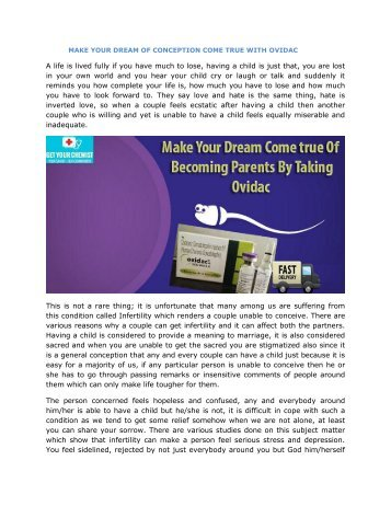 MAKE YOUR DREAM OF CONCEPTION COME TRUE WITH OVIDAC