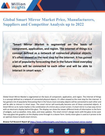 Global Smart Mirror Market Price, Manufacturers, Suppliers and Competitor Analysis up to 2022