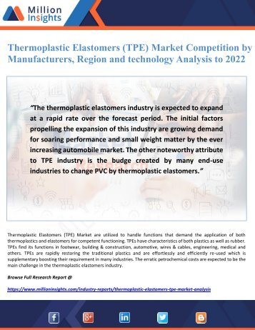 Thermoplastic Elastomers (TPE) Market Competition by Manufacturers, Region and technology Analysis to 2022