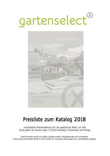 Preisliste Katalog gartenselect 2018 20.03.2018