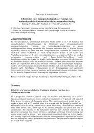 Effektivität eines neuropsychologischen Trainings von - Dr.Hein