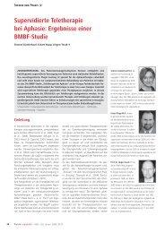 Supervidierte Teletherapie bei Aphasie: Ergebnisse einer ... - Dr.Hein