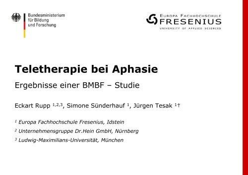 Teletherapie bei Aphasie - Dr.Hein