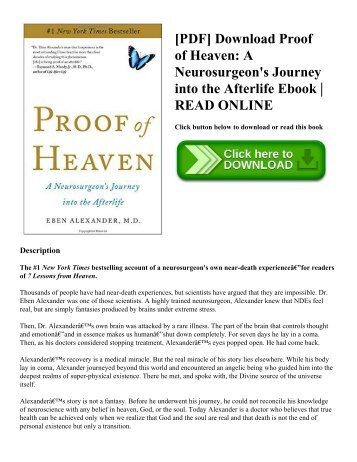 [PDF] Download Proof of Heaven: A Neurosurgeon's Journey into the Afterlife Ebook | READ ONLINE