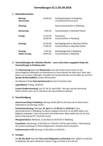 Vermeldungen KW14/18
