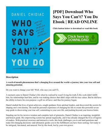 [PDF] Download Who Says You Can't? You Do Ebook | READ ONLINE