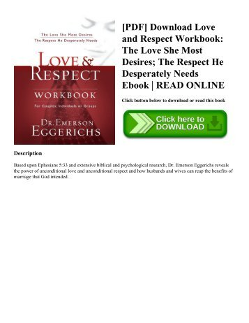 [PDF] Download Love and   Respect Workbook: The Love She Most Desires; The Respect He Desperately Needs Ebook | READ ONLINE