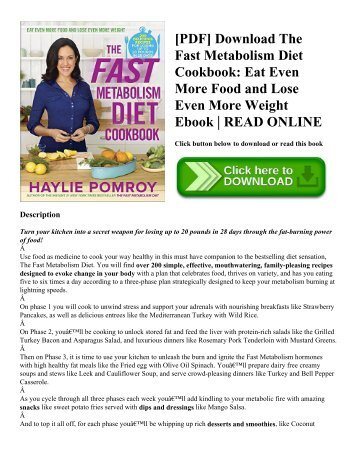 [PDF] Download The Fast Metabolism Diet Cookbook: Eat Even More Food and Lose Even More Weight Ebook | READ ONLINE