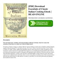 Essentials Of Classic Italian Cooking Epub