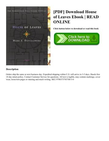 [PDF] Download House of Leaves Ebook | READ ONLINE
