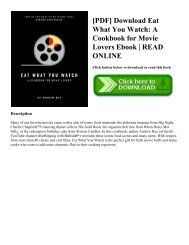 [PDF] Download Eat What You Watch A Cookbook for Movie Lovers Ebook READ ONLINE
