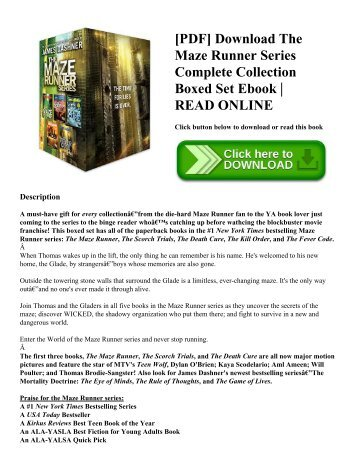 [PDF] Download The Maze Runner Series Complete Collection Boxed Set Ebook | READ ONLINE