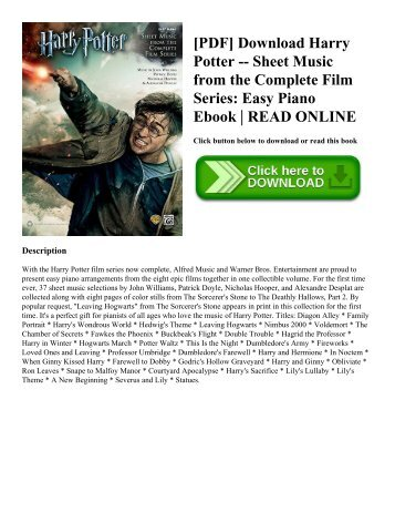 [PDF] Download Harry Potter -- Sheet Music from the Complete Film Series: Easy Piano Ebook | READ ONLINE