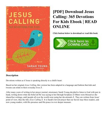 [PDF] Download Jesus Calling: 365 Devotions For Kids Ebook | READ ONLINE