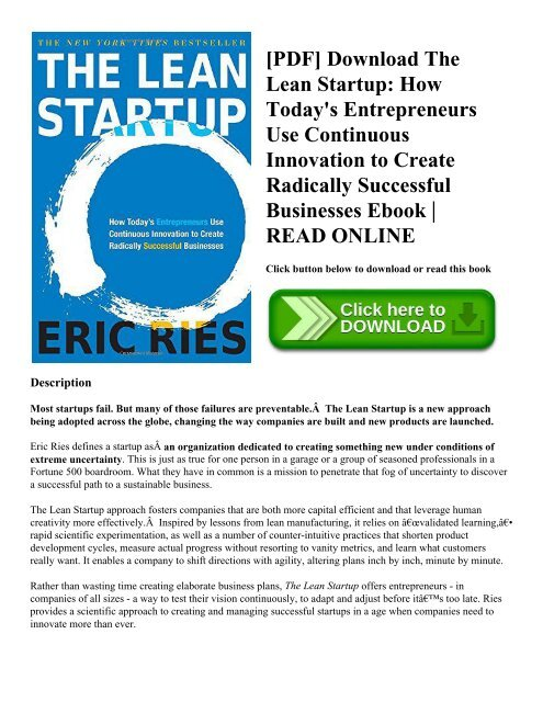 Pdf Download The Lean Startup How Today S Entrepreneurs Use