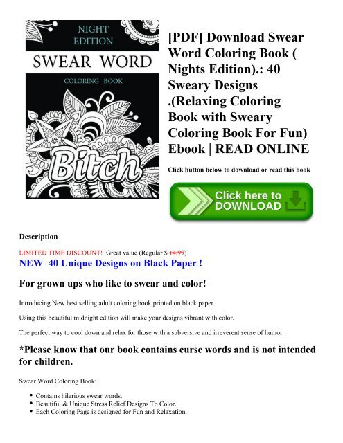 PDF] Download Swear Word Coloring Book ( Nights Edition).: 40 Sweary  Designs .(Relaxing Coloring Book With Sweary