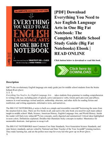 [PDF] Download Everything You Need to Ace English Language Arts in One Big Fat Notebook: The Complete Middle School Study Guide (Big Fat Notebooks) Ebook | READ ONLINE