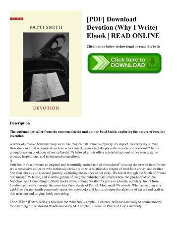 [PDF] Download Devotion (Why I Write) Ebook | READ ONLINE